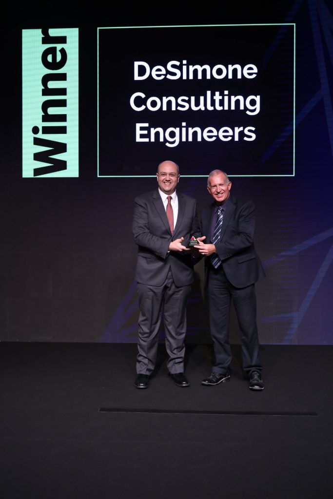 Ahmed Osman accepts an MEC award on behalf of DeSimone Consulting Engineers