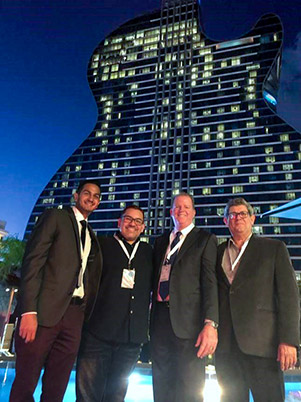 The DeSimone project team at the Seminole Hard Rock Hollywood Hotel & Casino grand opening on October 24th. (From left to right: Ryan Goolabsingh, Luis Ramirez, William O'Donnell, and Ramiro Areas)