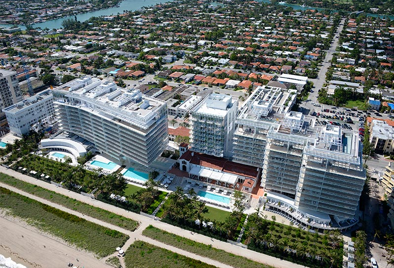 Aerial view of  Four Seasons Hotel at The Surf Club